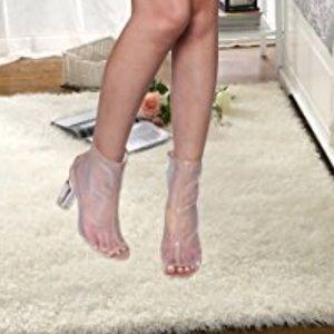 Shoes - Women's Nude Peep Toe Back Zipper Mesh Booties ❤️
